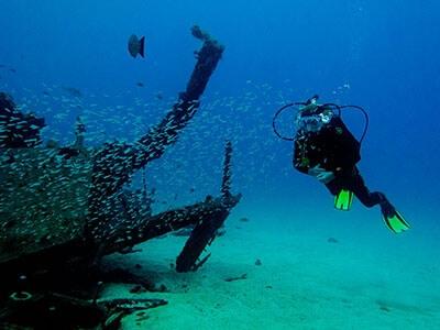 Wrack, tauchen, Dive College Lanzarote, Playa Blanca